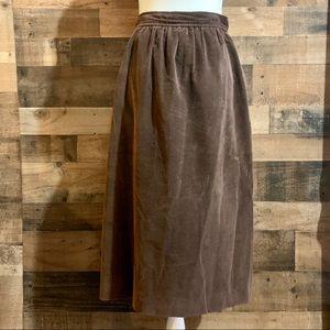 Vintage Ralph Lauren Brown Corduroy Midi Skirt